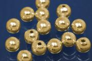 1-Hole-Bead 4,0mm 925/- Silver gold plated