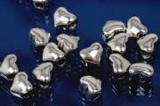 Spacer beads heavy version heart shape 925/- silver rhodium plated, size Maße ca.6,2x5,3x4,0mm, B1,95mm,