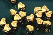 Spacer beads heavy version heart shape 925/- silver gold plated, size Maße ca.6,2x5,3x4,0mm, B1,95mm,