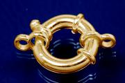 Big spring ring 925/- Silver gold plated with 2 rollo approx.Ø18x 8 x 4,0mm