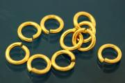 Jump rings round open 5,0mm 925/- Silver gold plated