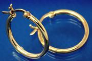 Hoop Earring ca. ext.Ø20mm, tube ca. Ø2mm, 925/- Silver gold plated