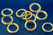 Split rings Ø 7,0mm 935/- Silver gold plated