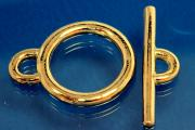 Toggle clasp Ø25mm 925/- Silver gold plated
