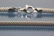 Popcorn necklace chain Ø3,7mm with trigger clasp and Ø4,4mm ending, Length ca. 45cm, 925/- Silver rhodium plated