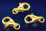 Trigger Clasp with open Ring 16 mm 925/- Silver gold plated
