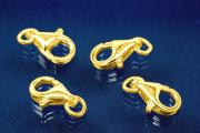 Trigger Clasp with open Ring 11 mm 925/- Silver gold plated