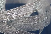 Organza Ribbon by meter, width ca. 10mm, silver color, double sided