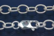 Round Anchor Chain 925/- Silver with pattern, width ca. 7mm, Length ca. 50cm