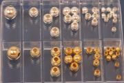 Beads-Set, polished beads, ca. 50 parts, 925/- Silver and 925/- Silver gold plated