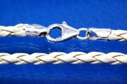 Leather cord necklace Ø3mm, with trigger clasp 925/- Silver, length 45cm