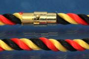 Necklace, Silk Cord Germany (black/red/gold) Ø6mm, with magnetic bayonet clasp gold color, length 45cm