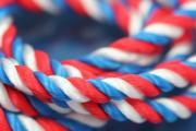1m silk cord blue-white-red, Ø5mm