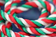 1m silk cord green-white-red, Ø5mm