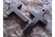 Hematite Pendant Cross , approx. 33x21mm, hole approx. 1,2mm