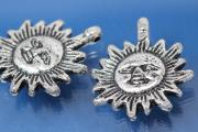 Sun, plastic silver color antique, approx 28x32mm