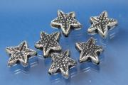Star small, plastic silver color antique, approx Ø12,5mm