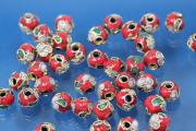 Cloisonne bead Ø6mm red