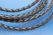 PU-leather-cord woven color black Ø3mm