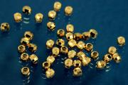Beads 925/- Silver gold plated polished, faceted version ca.Ø2,5mm, hole ca. Ø1,2mm